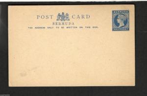 Unused Bermuda Postal Stationary Post Card  Half Penny