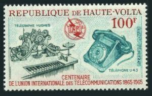 Burkina Faso C22,MNH.Michel 164. ITU-100,1965.Hughes telegraph,Telephone.