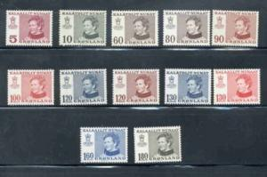 Greenland Sc 86-97 1973-9 Queen Margrethe stamp set mint NH