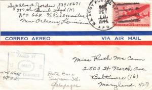 1944, APO 662, Galapagos Island to Baltimore, MD (M4319)