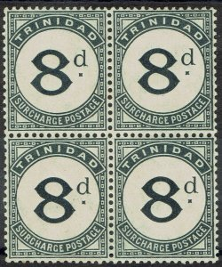 TRINIDAD 1905 POSTAGE DUE 8D MNH ** BLOCK WMK MULTI CROWN CA