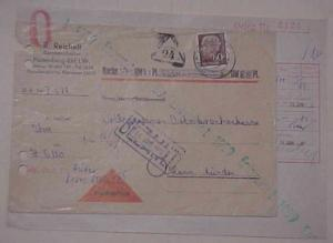 GERMAN  COVER  COD TRIANGLE 5-6-1959 PUNCHED