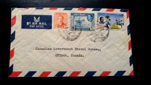SCARCE IRAQ 1958 MULTIPLE STAMPS COVER SEND TO OTTAWA CANADA RECEIVING CANCEL ON