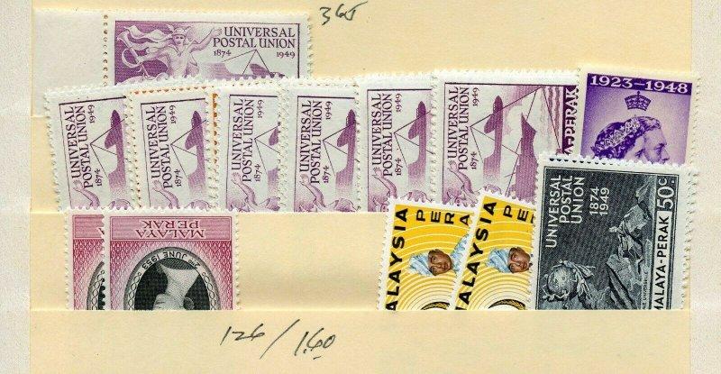 MALAYA PERAK  LOT INCLUDES 8 1949 UPU SETS MINT NEVER HINGED--AS SHOWN