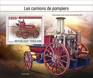 TOGO - 2021 - Fire Engines - Perf Souv Sheet - Mint Never Hinged