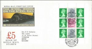 The Steel Wheel on the Steel Rail Royal Mail FDC 1986 British Rail Story Z9345