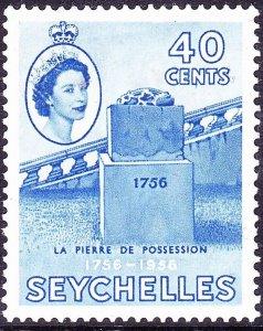 SEYCHELLES 1956 QEII 40c Ultramarine SG189 MH