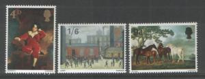 Great Britain 1967 Paintings (3) Scott # 514-16