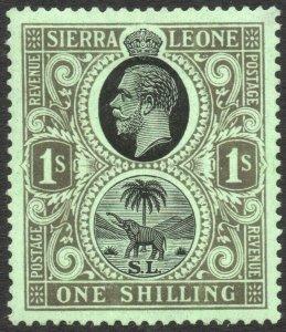SIERRA LEONE-1925 1/- Black/Emerald Sg 143 MOUNTED MINT V42961