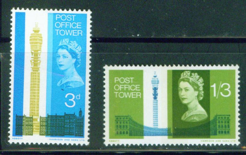 Great Britain Scott 438-9 Post Office Tower stamp set MH*