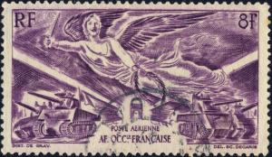 A.O.F. - 1946 - Yv.PA4/Mi.27 8fr lilas Anniversaire de la Victoire - Oblitéré TB