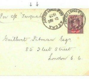 GOLD COAST Accra GB London *Per SS Tarquah* 1905 {samwells-covers} CG257