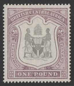 BRITISH CENTRAL AFRICA : 1897 Arms £1 black & dull purple. Rare high value.