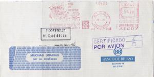 Spain 1980 Banco di Bilbao Slogan Cert Airmail Meter Mail Stamp Cover Ref 30002