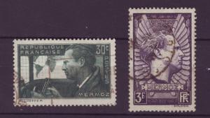 J4282 JLstamps 1937 france used set/2 #325-6 mermoz