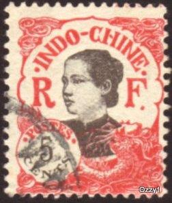 Indo China 1922 Sc#102 SG#123 5c Red Annamite Girl Used