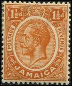 Jamaica SC# 62 SG# 59 George V 1-1/2d MH  wmk 3