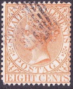 MALAYA STRAITS SETTLEMENTS 1867 QV 8c Orange SG14a Used