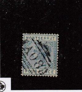 MONTSERRAT (MK6018) # 4  VF-USED  4p  1880 QUEEN VICTORIA /BLUE CAT VALUE $48