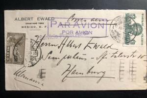 1935 Mexico city Mexico Airmail Cover to Hamburg Germany Via Paris Back label