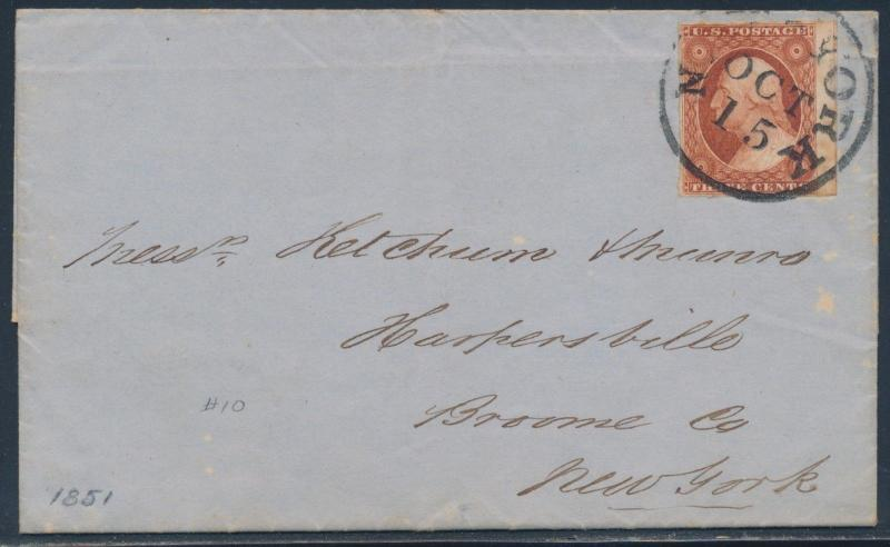 #10A COPPER BROWN FOLDED LETTER N.Y. OCT 15,1851 CNL SIGNED ASHBROOK HW3377