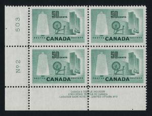 Canada 334 BL Block Plate 2 MNH Textile Industry