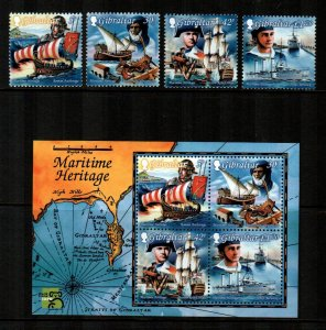 Gibraltar 1999, MARITIME HERITAGE  MNH set  + S/S # 798-801a