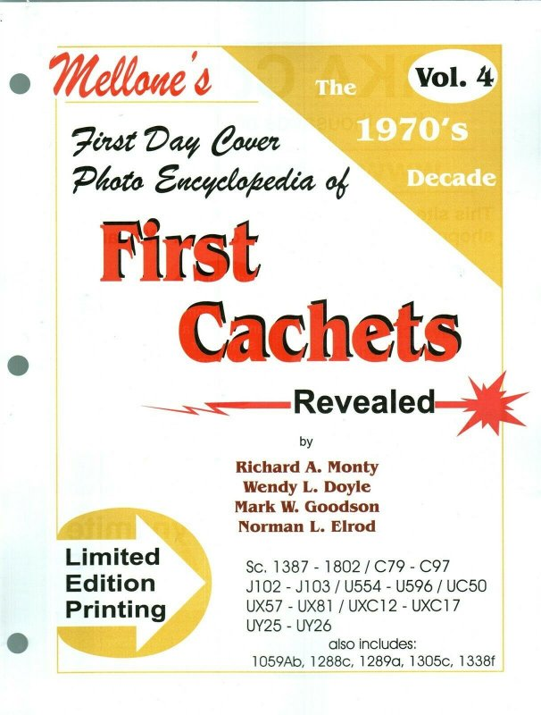 Mellone First Day Cover Photo Encyclopedia First Cachets 1970s Volume 4