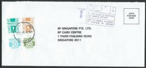 SINGAPORE 1990 taxed cover with postage dues. PASAR PANJANG cds...........10074