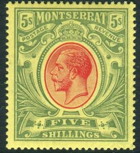 MONTSERRAT-1914 5/- Red & Green/Yellow.  A lightly mounted mint example Sg 48