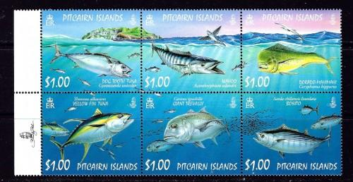 Pitcairn Is 664 NH 2007 Fish Block of 6