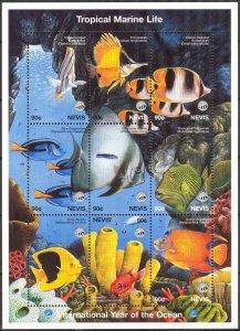 Nevis 1998 Marine Life International Year of Ocean Fishes Sheet MNH
