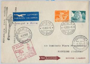 AIRMAIL / FLIGHT COVER - SWITZERLAND / SAN MARINO: First HELICOPTER postal 1950