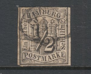 Hamburg Sc 1 used. 1859 ½s black Numeral, imperf, 3+ margins, thin