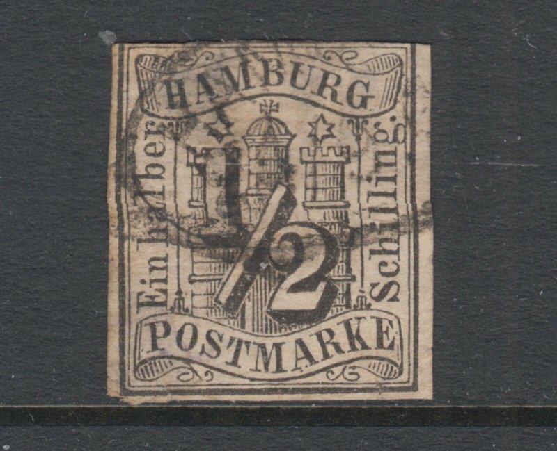 Hamburg Sc 1 used. 1859 ½s black Numeral, imperf, 3+ margins, thin