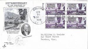 #954, 3c California Gold Centennial, Art Craft cachet, plate block of 4