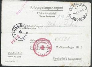 BULGARIA 1942 P.O.W. postcard to Germany - Stalag IIIB.....................61340