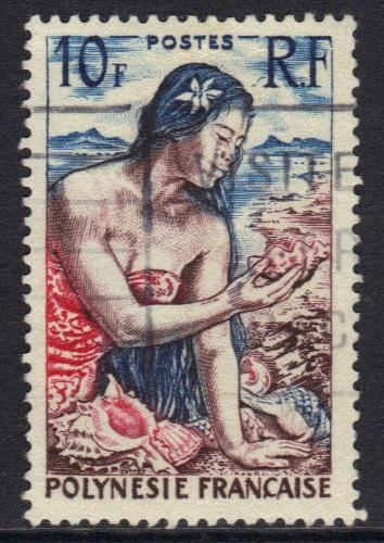French Polynesia  1958  used  10f.  #
