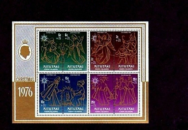 AITUTAKI - 1976 - CHRISTMAS - ANGELS - KINGS - CHILD WELFARE - MINT MNH S/SHEET!