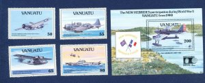 VANUATU - Scott 560-564 - FVF MNH - WWII Ships & Airplanes - 1992