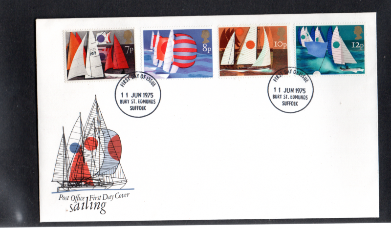 1975 Sailing 8p missing heavy black on FDC