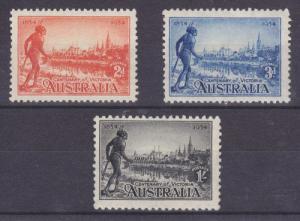 Australia Sc 142a-144 MLH. 1934 Centenary of Victoria VLH & F-VF