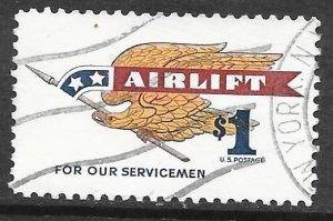 USA 1341: $1 Eagle Holding Pennant, used, VF