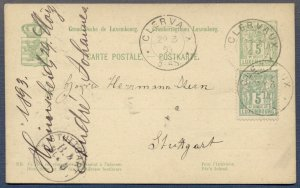 LUXEMBOURG: 1893 Uprated Postal Card from Clerva to Stuttgart