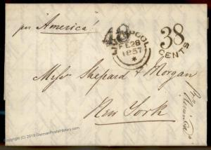 England Britain 1857 New York Cunard SS America Transatlantic Stampless Co 77676