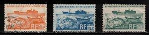 ST PIERRE & MIQUELON Scott # 337-9 Used - Fishing Trawler & Fish