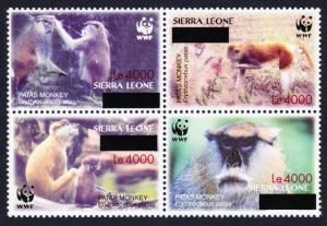 Sierra Leone WWF Patas Monkey Block of 4 with overprint RARE MI#5071-5074