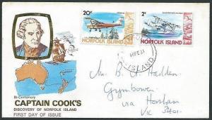 NORFOLK IS 1981 20c + 2c aeroplanes on cover to Australia..................40896