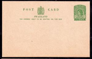 Swaziland QEII 1 1/2d Postal Stationery Card H&G 6 mint condition WS13993