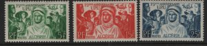 ALGERIA, (3) SET, 226-228, HINGED, 1949, Peoples of the world